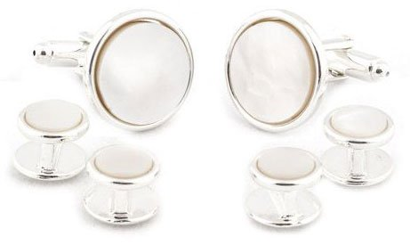 Sterling Silver Plated Mother of Pearl Cufflinks and Studs Formal Set with Presentation ()