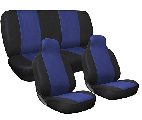 Motorup America Auto Seat Cover Full Set - Fits Select Vehicles Car Truck Van SUV - Blue & ()