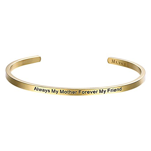 MLYSA 'Always My Mother Forever My Friend'- Cuff Bangle Bracelets from Mom and Daughter Birthdays