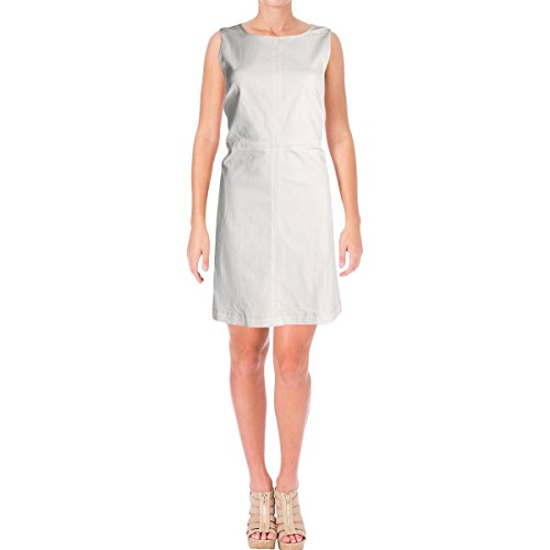 LAUREN RALPH LAUREN Womens Fiennes Denim Fit & Flare Casual Dress White 4