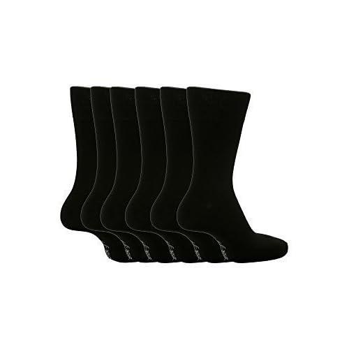 6 Pares Hombre Caballero Agarre No Calcetines elásticos 6-11 GB, 39-45 EU NEGRO LISO mgg100