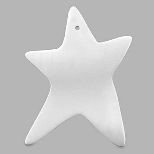 Creative Hobbies 4 Inch Star Ornament, Case of 12 Pieces, Unfinished Ceramic Bisque, With How To Paint Your Own Pottery Booklet