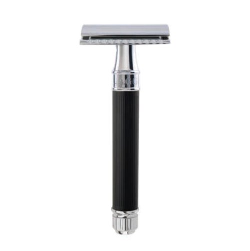 Double Edge Safety Razor, Regular Handle , Black Rubber Coated