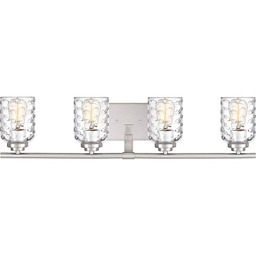 Quoizel CRI8604BN Cristal Bubble Cut Glass Bath Vanity Wall Lighting, 4-Light, 400 Watts, Brushed Nickel (7