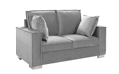 Classic Brush Microfiber Sofa, Small Space Loveseat Couch (Light Grey)