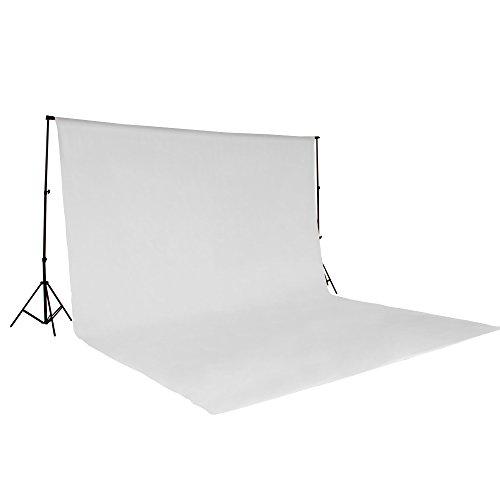 TecTake® Teleskop Fotostudio Komplettset Hintergrundsystem inkl. Hintergrund 6x3 m weiß + Tasche