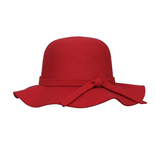 Easy Hat Fleece - Elee Kids Girl's Vintage Wide Brim Fleece Wool Felt Bowler Cap Floppy Hat(Red)