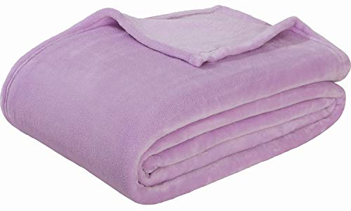 - Sedona House Flannel Fleece Blanket 280GSM Luxury Microfiber Flannel Super Soft Warm Fuzzy Cozy Lightweight Blanket for Bed Couch or Car Color Purple Size Throw 50