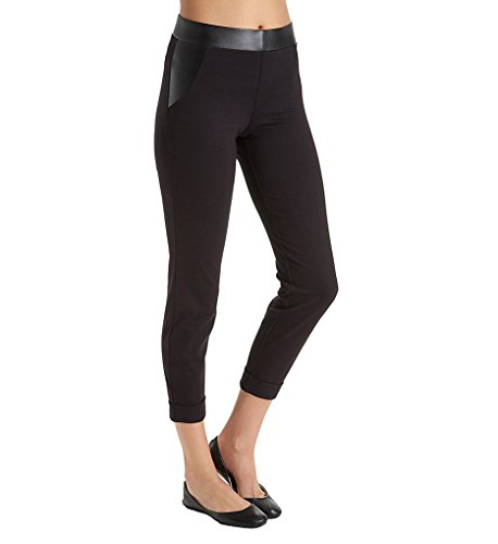 HUE Women's Leatherette Trim Cropped Cuffed Leggings, Black, Small ()