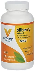 The Vitamin Shoppe Bilberry Extract 120MG, Antioxidant That Promotes Eye, Night Vision Blood Circulation Health, Standardized to 25 Anthocyanins 240 Capsules