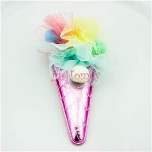 4pcs Handmade Metallic Fabric Unicorn Horns Ice Cream Cone W/Pom Pom Ball, Mesh Flower for Cake Topper, Girl Hair Accessory