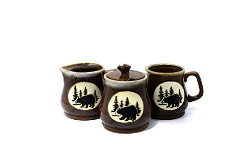 Porcelain Coffee Set w/Bear Mural - Mug, Sugar Bowl, Creamer (Brown)