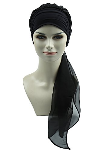 Black Turban Bandana Scarf For Chemo Women Headwear Head Cover For Cancer Patients