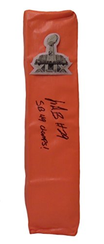 New England Patriots LeGarrette Blount Autographed Hand Signed SB XLIX Full Size Logo Football Touchdown End Zone Pylon with Super Bowl Inscription and Proof Photo of Signing, COA- UO Oregon Ducks