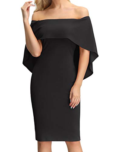 GRACE KARIN Women Off Shoulder Batwing Cape Midi Dress Formal Evening Dresses Black L