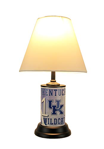 NCAA Kentucky Wildcats Number 1 Fan License Plate Lamp with Fabric Shade