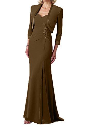 Abendkleider lang Braun Brautmutterkleider Chiffon Jaket Partykleider Elegant Charmant Damen xOTIq7