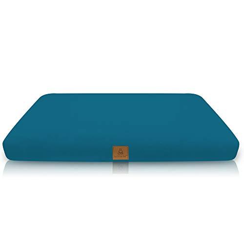 Buckwheat Zabuton Meditation Cushion | Yoga Pillow | Square Ergonomic Design Relieves Stress On Back, Hips, Legs For Total Comfort | Washable Premium Organic Cotton Removable Cover - Aqua