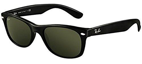 Ray-Ban New Wayfarer RB 2132 Sunglasses Black / Crystal Green (901) 55mm & HDO Cleaning Carekit - 901 Rb 2132