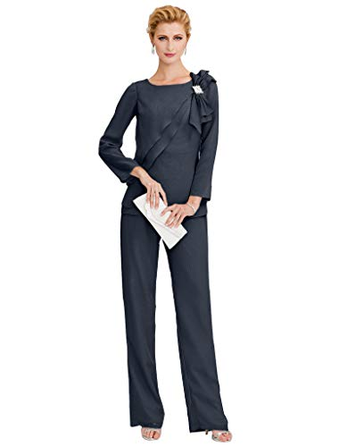 TS Women's Pantsuit Jewel Neck Floor Length Chiffon Mother of The Bride Dress with Crystals Side Draping Dark Navy