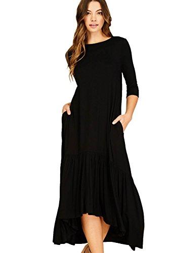 Dress Knit Ruffle (Annabelle Women's Knit Dress Featuring Solid Print Round Neck 3/4 Sleeve Side Pockets Hi Low Full Length Ruffle Hem Black Medium D5293)