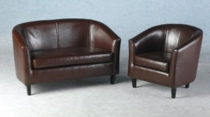 2 seater tub sofa with matching tub chair faux leather amazon co uk