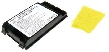 Amsahr® Replacement Battery for Fujitsu FPCBP192, FPCBP192AP, FMV: A2200, A6250, A6260, LifeBook: A1110, A1120, A1130, FM-62, FM-63, FM-65 (6 Cell, 4400 mAh) - Includes Cleaning Cloth