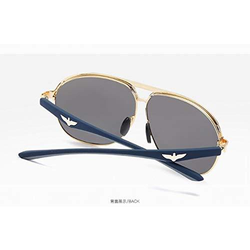 Azul Aviador para Gafas Moda Hombres Gold de Sol polarizadas Estilo Marco frame Pistola Gafas Hielo de Gafas Burenqiq metálicas Espejuelos Sol de mercury de white Sol de polarizadas WySfqBUxwC