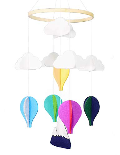 Baby Crib Mobile,Night Nursery Decoration,Woodland Baby Mobile,Hot-air Balloon Christmas Tree Pattern,Home Décor for Boys and Girls(Hot-air Balloon)
