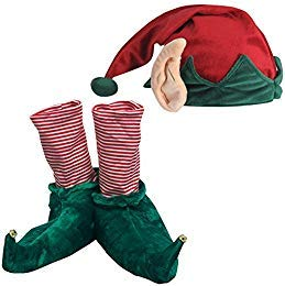 (Set) Festive Christmas Holiday Elf Slippers and Hat w/Built in Ears - -