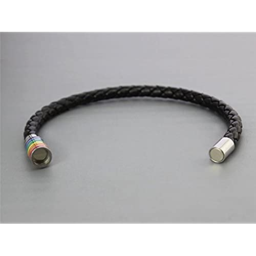 INRENG Leather Braided Lgbt Rainbow Bracelet Stainless Steel Magnetic Bangle Gay & Lesbian Pride Silver/Gold