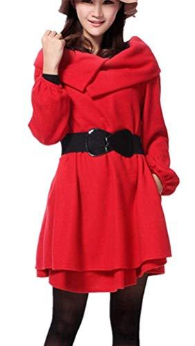 Invierno Cinturón Jumper Vestido Exquisito Party Rot Casuales Color Otoño Largo Sólido Manga Retro Para Vestidos Elegante Mujer Fashion Adelina Mini 1 Con 8gxqwIfnHf