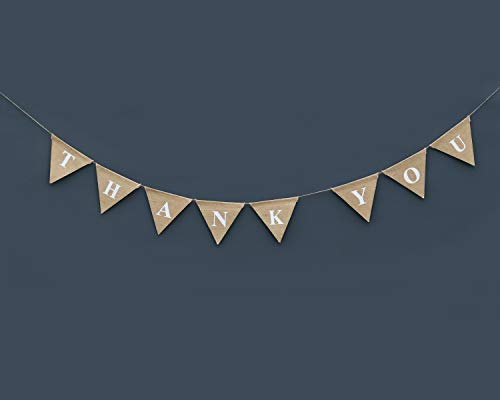 (Boston Creative company Thank You Burlap Banner Wedding Bunting Card Photo Prop Rustic Sign Thankyou Hessian Celebration Party Decoration)