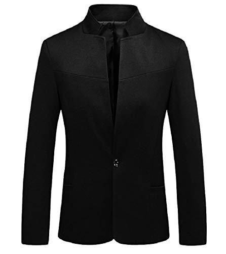 Andopa Men Skinny Stand Up Collar Single Button Baggy Suit Jacket Blazer Black 2XL