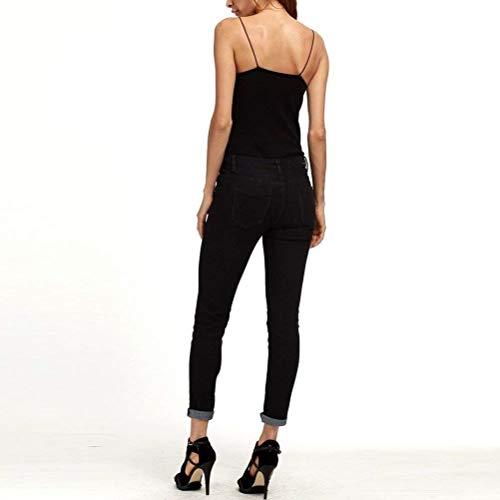 Pitillo Casuales Jeans Lápiz De Pantalones Negro Alta Tallas Moda Cintura Clásica Mujeres Fit Slim Battercake Ripped Xxxxxl Grandes wq1ZwFC