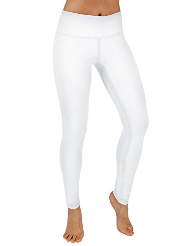 ODODOS Power Flex Yoga Pants Tummy Control Workout Non See-Through Leggings with Pocket,White,Small