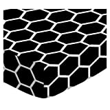 SheetWorld Fitted Basket Sheet - Black Honeycomb - Made In USA - 13 inches x 27 inches (33 cm x 68.6 cm)