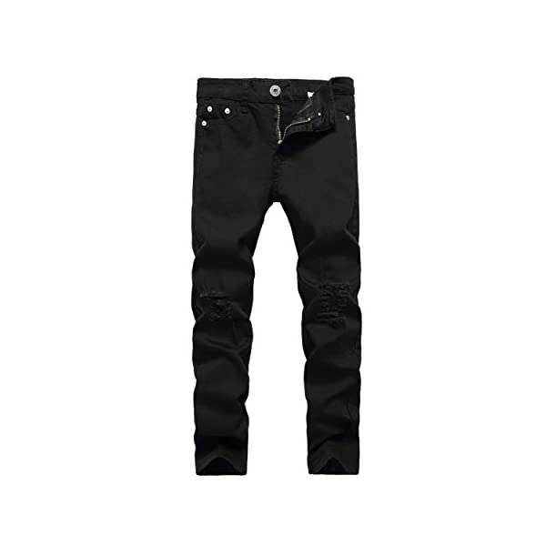 FREDD MARSHALL Boy's Skinny Fit Ripped Destroyed Distressed Stretch Slim Jeans Pants