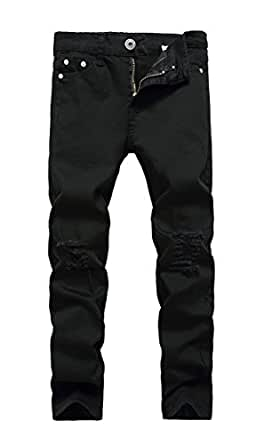 FREDD MARSHALL Big Boy's Skinny Fit Ripped Stretch Slim Jeans Pants 8 Slim Black