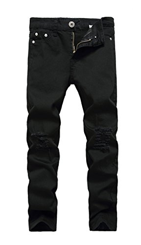Boy's Black Skinny Fit Ripped Destroyed Distressed Stretch Slim Jeans Pants, Black, 14 Slim
