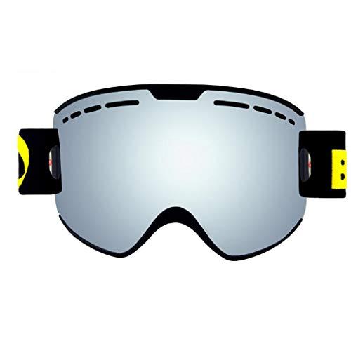 vTopTek OTG Ski Goggles,Anti Fog Snowboard Goggles UV Protection, Snow Goggles Helmet Compatible for Men Women Boys Girls Kids,Black Silver