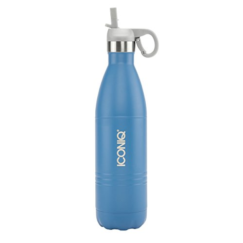ICONIQ Stainless Steel Vacuum Insulated Water Bottle with Pop Up Straw Cap, 25 Ounce (Navy Blue)