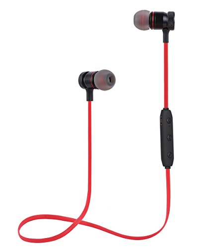 Jave Bluetooth Headphones Wireless Sports Earbuds Sweatproof Headset Magnetic attraction Stereo Earphones for Running Workout Gym Noise Cancelling(Red)