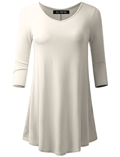 A.F.Y All For You Women's 3/4 Sleeve V-Neck Flare Hem Tunic Ivory Large