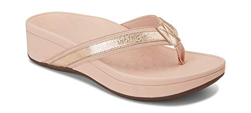Vionic Women's Pacific High Tide Toepost Sandals - Ladies Platform Flip Flops with Orthotic Arch Support Rose Gold Metallic 9 W US