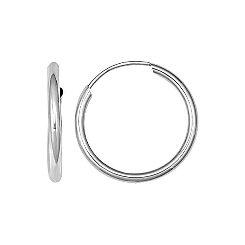 14K Solid White Gold Endless Loop Hoop Timeless Earrings 2 mm Gauge/Thickness Available in Multiple Diameters - Segment Septum Lip Nose Round Hoop Tragus Helix Cartilage (0.80 Inch)