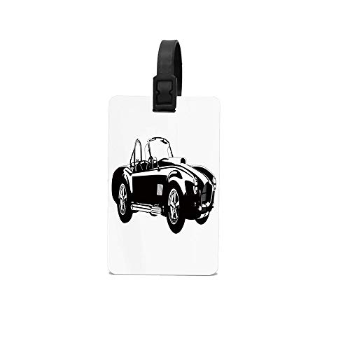 (Hwensona Silhouette Classic Sport Car Ac Cobra Roadster American Antique Engine Autosport Luggage Tag - Colorful Pattern Tags For Travel Identifier Travel Luggage Suitcase Label)