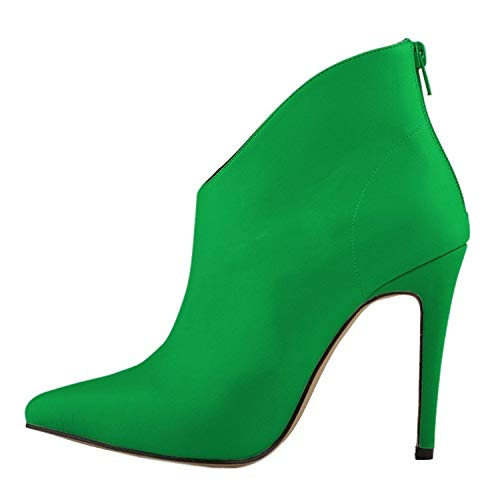 High end Womens Elegant and Simple Zip Slip On Pointed Toe Stiletto High Heel Pump Shoes,7.5B(M) US,Green