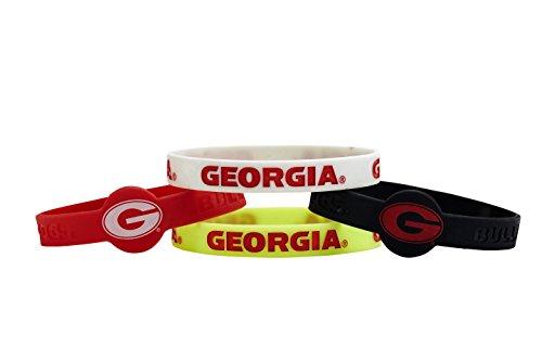 Georgia Bulldogs Bracelets - aminco NCAA Georgia Bulldogs Silicone Bracelets (4 Pack), Multicolor