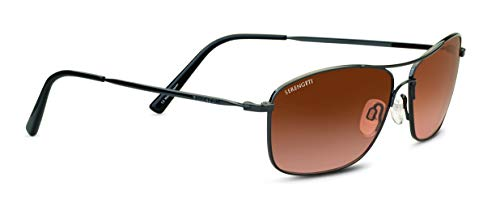 Serengeti Corleone Sunglasses Shiny Gunmetal Unisex-Adult Small/Medium